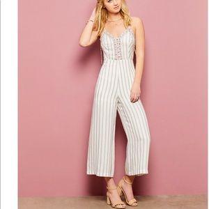 Chelsea & violet striped jumpsuits